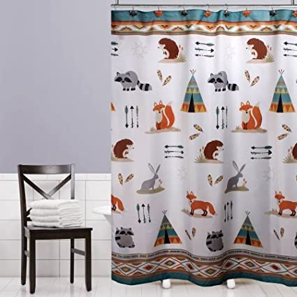 Superbe Mainstays Kids Woodland Creatures Fabric Shower Curtain