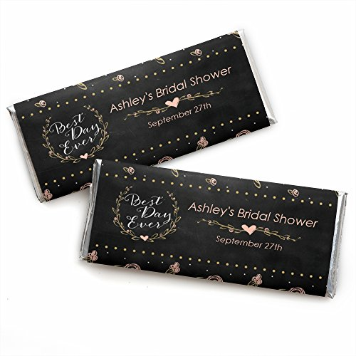 Custom Best Day Ever - Personalized Wedding Party Favors Candy Bar Wrappers - Set of 24 (Shower Bar Chocolate Bridal Personalized)
