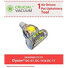 1 Dyson DC07 DC14 DC17 Air Driven Pet Upholstery Turbo Brush Tool Attachment Designed To Fit All 32mm Fitting Vacuums Including Dyson DC07, DC14, DC17 Vacuums; Designed & Engineered By Crucial Vacuum
