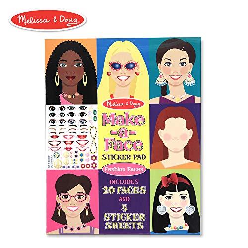 Melissa & Doug Make-a-Face Sticker Pad - Fashion Faces, 20 Faces, 5 Sticker ()