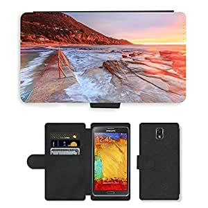 Just Phone Cases PU LEATHER case coque housse smartphone Flip bag Cover protection // M00421727 Playa de arena Costa Sunset Shore // Samsung Galaxy Note 3 III N9000 N9002 N9005