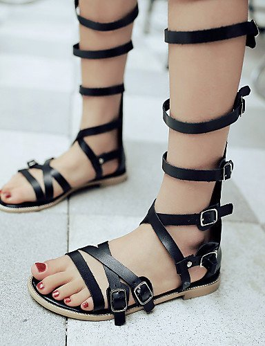 ShangYi Womens Shoes Heel Peep Toe Sandals Outdoor / Dress / Casual Black / Brown / Beige Beige
