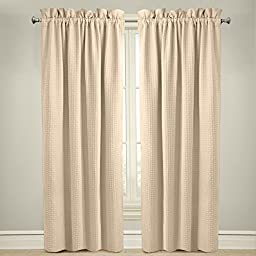 Veratex The Payton Window Collection Made in the U.S.A. 100% Cotton Living Room Rod Pocket Window Panel Curtain, Ivory, 84\