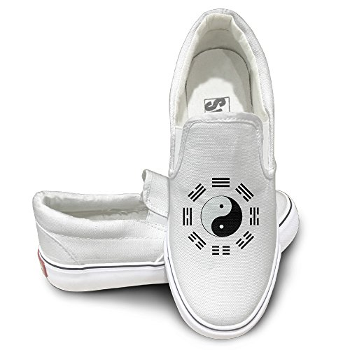 Claudia Unisex Slip-on Shoes Yin Yang Eight Diagrams Canvas Sneaker 43 White