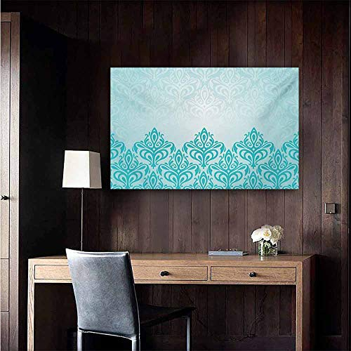 - duommhome Turquoise Modern Frameless Painting Retro Style Medieval European Victorian Gradient Royal Pale Patterns Artwork Print Bedroom Bedside Painting 35