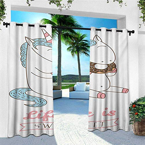 leinuoyi Kawaii, Outdoor Curtain Set of 2 Panels, Life is Sweet Quote in Banner with Doughnut Eating Unicorn Cartoon Mythical Animal, for Patio Waterproof W120 x L96 Inch Multicolor