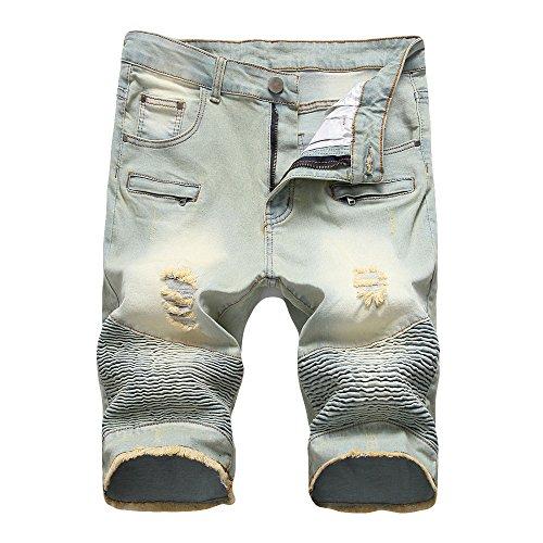 iZHH Men's Zipper Crumple Fit Straight Denim Vintage Style Jeans Pants(Yellow,32) by iZHH