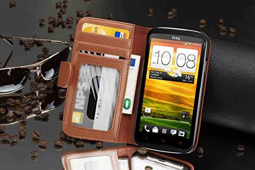Cadorabo - Funda HTC ONE X / X PLUS Book Style de Cuero Sintético en Diseño Libro - Etui Case Cover Carcasa Caja Protección con Tarjetero en BURDEOS-VIOLETA MARRÓN-COGNAC
