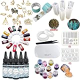 INNICON 5X 30ML Crystal Clear Epoxy Resin Decoration Kit Quick Curing No Mixing with 8X Silicone Diamond Molds with 56X Glitters Jewelry Decorations Sets Pendants Charms Necklaces UV Lamp Tweezers