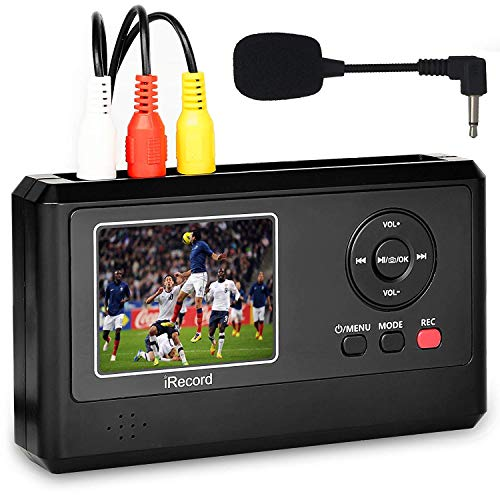 DIGITNOW Video Capture Box with Microphone, VHS to Digital DVD Converter from VCR Tapes Hi8 Camcorder TV Box and Gaming Systems,Save to TF Card Directly ()