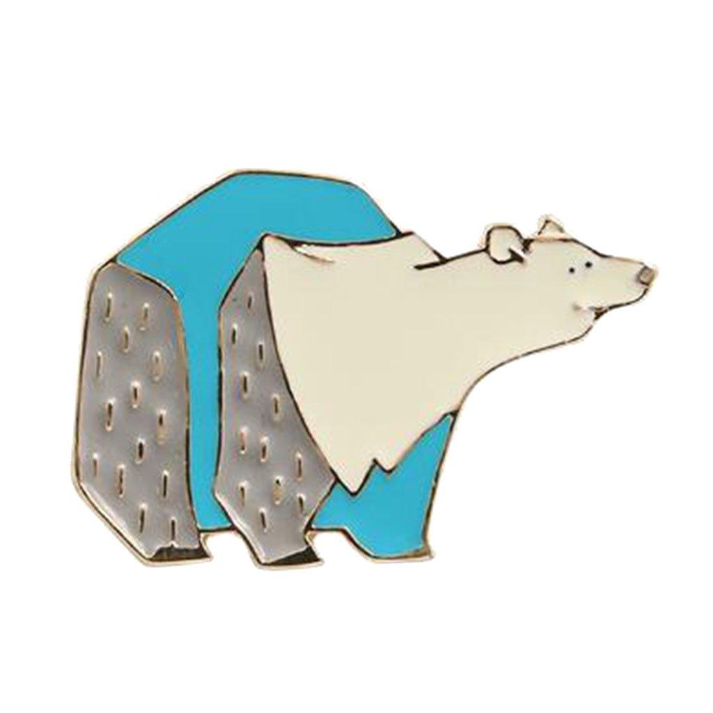 ModogirlクリスマスギフトCute Polar BearブローチピンMama Bearパズル動物ボタンブローチピンブルーコサージュプロム B07D4FVGZK