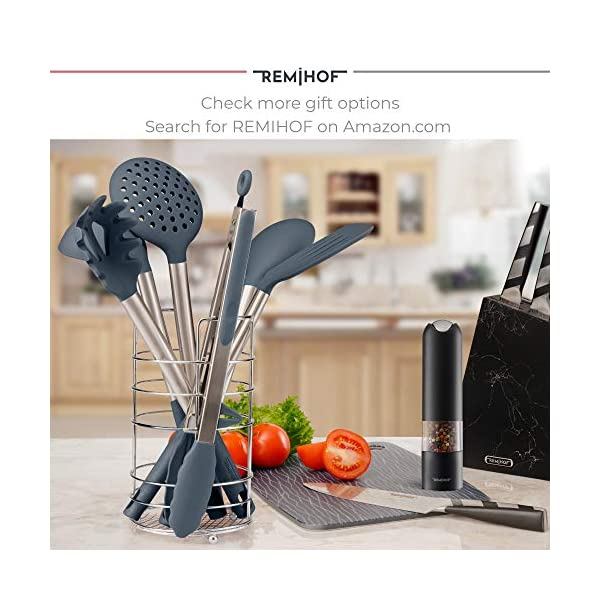 REMIHOF Silicone Kitchen Utensil Set - Nonstick Silicone and Stainless Steel Cooking Utensils - Spatula Turner Ladle… 7
