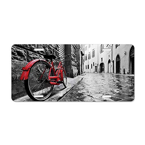Get Noy Classic Bike on Cobblestone Street in Italian Town Leisure Charm Artistic Photo License Plate Cover Aluminum Car Tag Cover License Tag Holder License Plate Frame for US Vehicles Standard