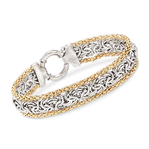 Ross-Simons Sterling Silver and 14kt Yellow Gold Byzantine Bracelet