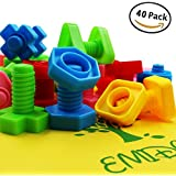 EMIDO 40 Pieces Jumbo Nuts Bolts Toy, STEM Toy, Kids Educational Enlightenment Toys, Occupational Therapy Autism,Safe Material for Kids - Matching Fine Motor Toy for Toddlers Preschoolers