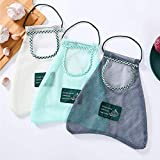 Dsmile 3 Pack Reusable Strong Fruit and Vegetable Mesh Bags for Fruit and Vegetable Hanging Storage, Kitchen Storage, Bathroom Organizer, Washable Foldable Net Bags
