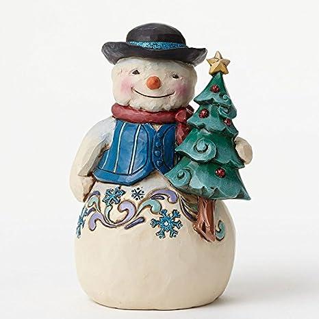 Jim Shore for Enesco Heartwood Creek Snowman with Tree Figurine, 4.75