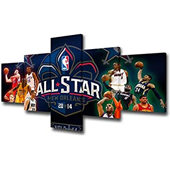 TUMOVO NBA All-Star Game Wall Decor Art Paintings 5 Piece Canvas Picture Artwork Living Room American Basketball Prints Poster Home Decoration Wooden Framed and Stretched Ready to Hang - 50''Wx24''H