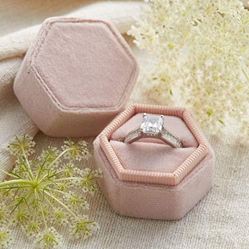 Velvet Ring Box Blush Pink, Hexagon Shape, Engagement Ring Box, Ring Bearer Box, Wedding Ring Box, Wedding Photo Shoot, Engagement Photo Shoot, Bridal Gift]()