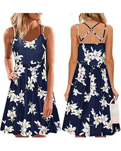 ULTRANICE Women's Summer Floral Sleeveless Adjustable Spaghetti Backless Short Dress(Floral01,XL)