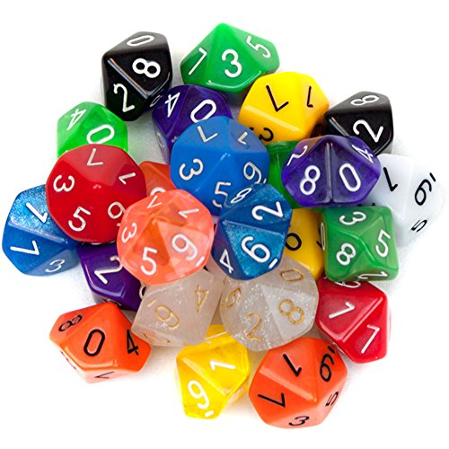 25 Pack of Random D10 Polyhedral Dice in Multiple Colors by Wiz Dice