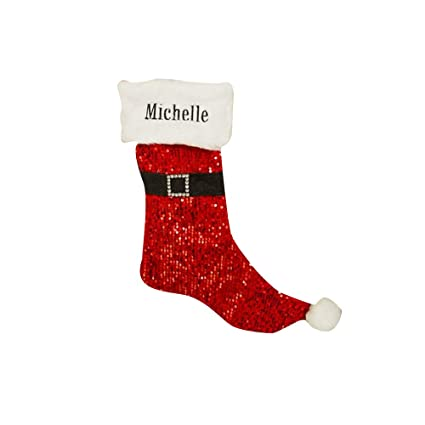 cf292da6c Image Unavailable. Image not available for. Color  GiftsForYouNow Red  Sequin Santa Personalized Christmas Stocking