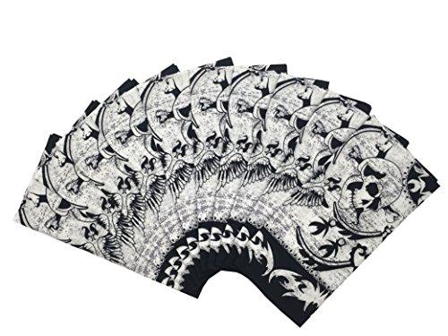 T&Z 100% Cotton 10 Pack Fine (Skull Print Bandana)
