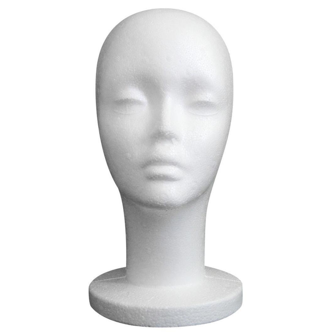 Tête de modèle Femelle, Moonuy Styromousse Femelle Mannequin de Cheveux Perruque Cheveux Mousse Artistique Tête Mannequin Modèle Féminin Salon Coiffure Modèle de Perruque (Blanc)