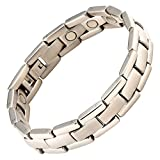Magnetic Bracelet High Power Therapy Magnets Stainless Steel Silver Executive - 8 1/2