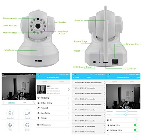 Wireless WiFi Security Camera System 1.3MP 960P HD Pan Tilt IP Network Surveillance Webcam,Baby Monitor,Two-Way Audio,Built-in Microphone,SD Card Slot(128GB),Motion Detection