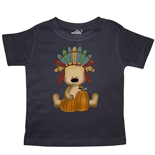 inktastic Thanksgiving Chief Native American Bear and Toddler T-Shirt 3T Black
