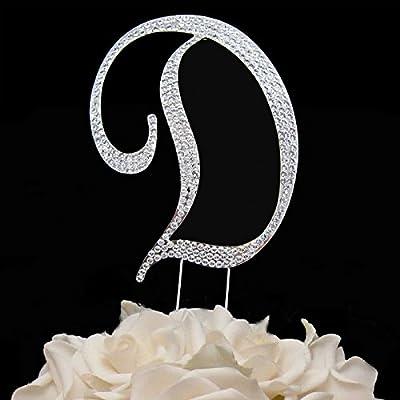 Rhinestone Cake Topper Letter D