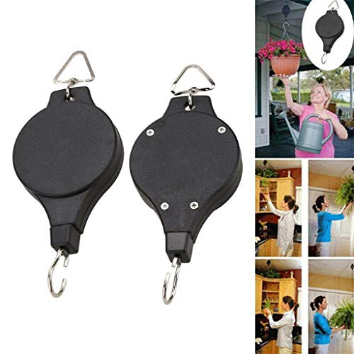 - ❤️Ywoow❤️ Basket Hooks, Retractable Pulley Hook Hanging Pull Down Hanger for Flower Plant Baskets Garden