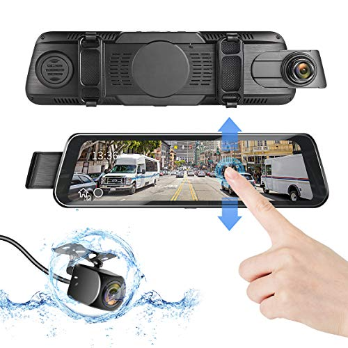"DUTERI D Dash Cam Rear View Mirror Camera Cars Video Backup Parking 24H's Monitor with Night Vision G-Sensor Waterproof 170°HD 1080P 9.66"" Full Size Touch Screen"
