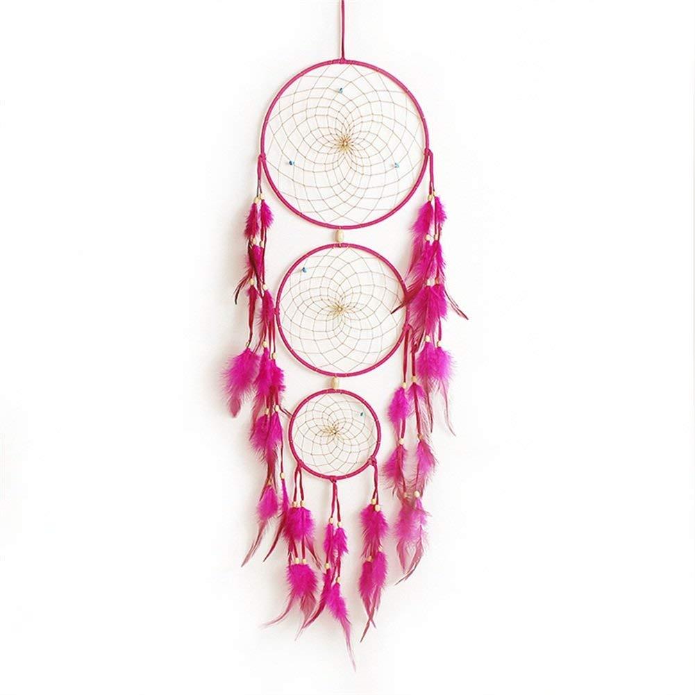 KUKE atrapasueños Hecho a Mano 3 círculos Turquesa con Cuentas de Plumas para Colgar en la Pared, Adorno de decoración para el Coche, el hogar, la habitación, Color Rosa y Rojo