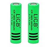 LiCB 2 Pack 6800mAh 18650 Battery Rechargeable Li-ion Lithium 3.7v Batteries for Flashlight LED Light (18650)