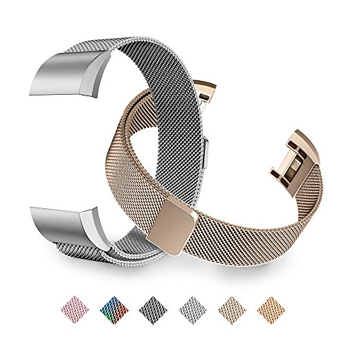 Tecson Fitbit Charge 2 Bands, Stainless Steel Metal Milanese Replacement Wristband Bracelet Strap with Magnet Lock for Fitbit Charge 2, Rose Gold, Champagne, Rose Pink, (Champagne Gold & Silver)