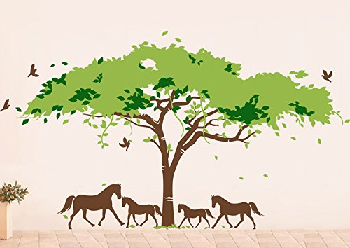 Pop Decors PT-0108-Vb Beautiful Wall Decal, African Tree and Horses by Pop Decors