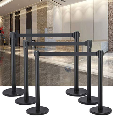 (2x Crowd Control Barriers Stanchion Pole Post Queue Dividers Retractable Belt | perfect for crowd control at retail stores, sporting arenas, airports, banks, registrations, hotels, concert venues etc.)