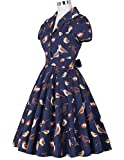 Vintage Dresses Womens 1950s Navy Blue Cocktail Party Dress with Removable Belt