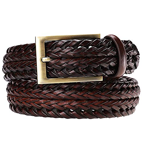 Earnda Men's Braided Belt Leather Woven Genuine Leather Belt For Men With Pin Buckle Brown 33mm 40-46