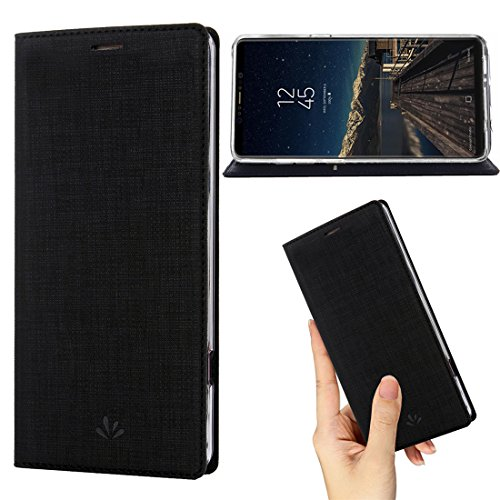 Samsung Galaxy Note 8 Case,PU Leather Wallet Slim Thin Case Flip Folio [Kickstand Feature] with ID&Credit Card Holder TPU Bumper Full Cover Case for Galaxy Note 8 (Black)