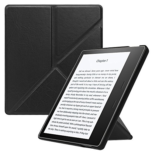 Fintie Origami Case for Kindle Oasis (9th Gen, 2017 Release ONLY) - Slim Fit Stand Protective Cover Support [Hands Free] Reading with Auto Wake / Sleep for Amazon All-New 7 Kindle Oasis, Black