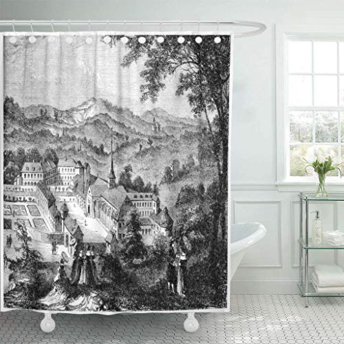 (Emvency Fabric Shower Curtain with Hooks Port Royal Des Champs After Engraving of The Seventeenth Century Vintage Engraved 72