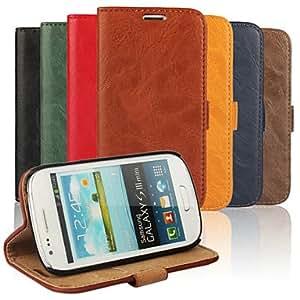 GX 20150511 corteza de tarjeta de bolsillo grano del caso de la PU con el soporte para el mini i8190n samsung s3 (colores surtidos) , Orange
