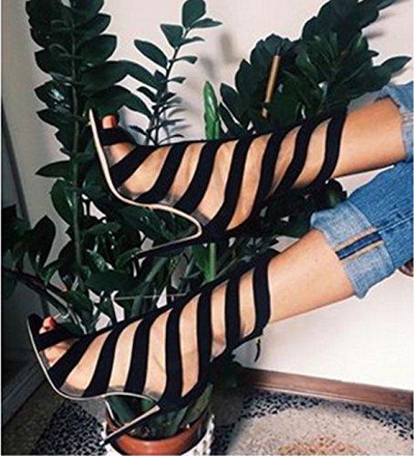 ZHZNVX Joli imprimé Rayé-Rosée Toe Bottes à Talons Hauts et Les Chaussures dans Le Froid Roman Sandales, Noir, 39