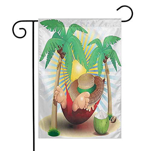 Mannwarehouse Beach Garden Flag Cute Illustration Relax Exotic Summer Holidays on Hammock Theme Hot Paradise Lands Premium Material W12 x L18 Multicolor