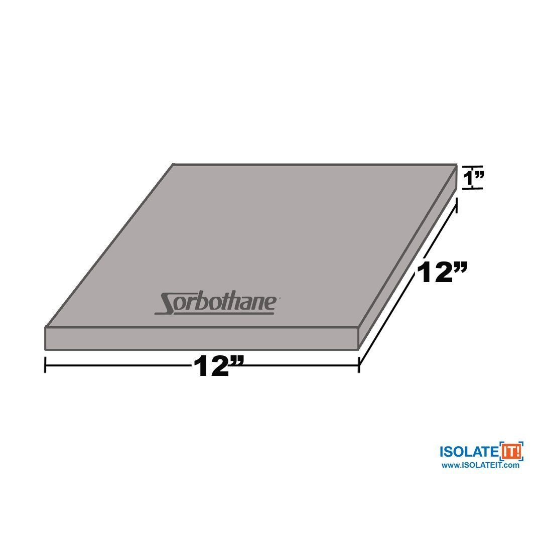 Sorbothane Vibration Damping Sheet Stock (30 Duro, 1 x 12 x12in)