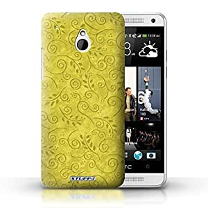 KOBALT? Protective Hard Back Phone Case / Cover for HTC One/1 Mini | Yellow Design | Swirl Leaf Pattern Collection