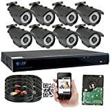 Cheap GW Security 8 Channel HD 5.0MP (2592TVL) Waterproof Security Camera System with 8 x 5MP HD 1920P CCTV Camera, Pre-Installed 2TB Hard Drive, High Resolution Long Transmit Range (Bullet cameras)